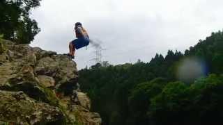 保津川ラフティング名物「飛び込み岩」のジャンプ Katsuyaスペシャル20140627
