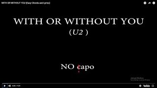WITH OR WITHOUT YOU (Easy Chords and Lyrics)