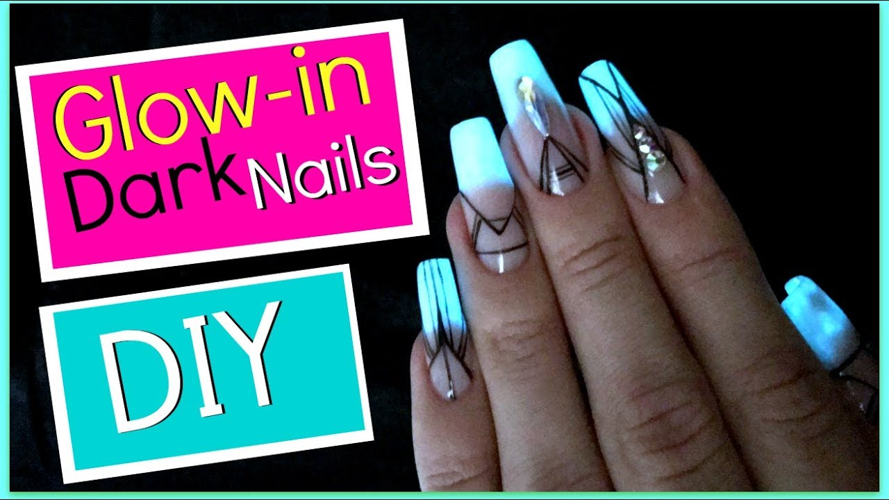 How To Do Glow In The Dark Nails Secure Large Rhinestones Easy