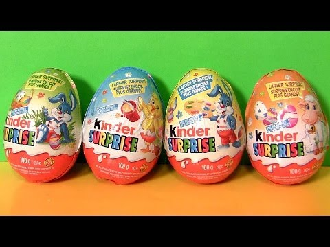 Thumbnail: Huge Kinder Surprise Easter Eggs 2014 Farm Animals Series Huevos Ovetti di Pasqua by Disneycollector