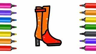 Как рисовать и раскрашивать Туфли для Барби - Образовательные Раскраски для детей