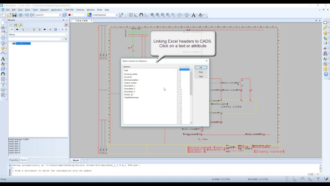 CADS Electric 17 - Generating schemas from Excel and template files ...