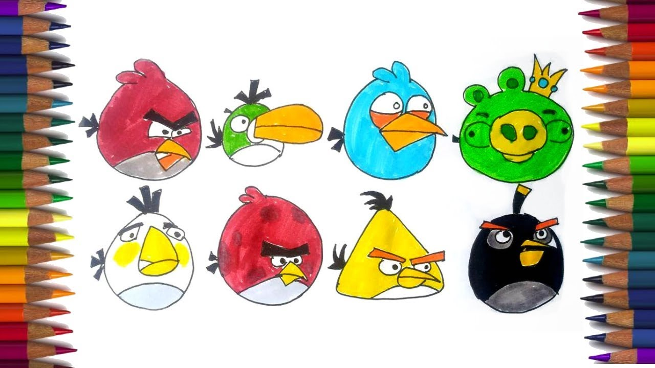 How To Draw Angry Birds Characters And Learning Colors Angry Bird Coloring Book Youtube