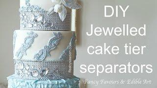 Diamond wedding cake tier separators