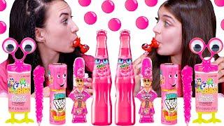 ASMR Pink One Color Food Mukbang 2 Tik Tok Jelly Animals Lollipops Twist And Drink