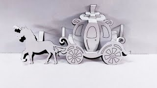 3D Horse Carriage Card Pop-up Paper GrandGift Homemade Kirigami Paper Art....