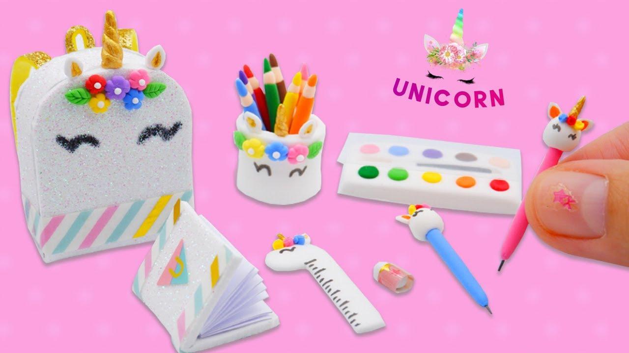 DIY Miniature Unicorn School Supplies | DIY ชุดเครื่องเขียนจิ๋ว ยูนิคอร์นสุดน่ารัก จากดินเกาหลี