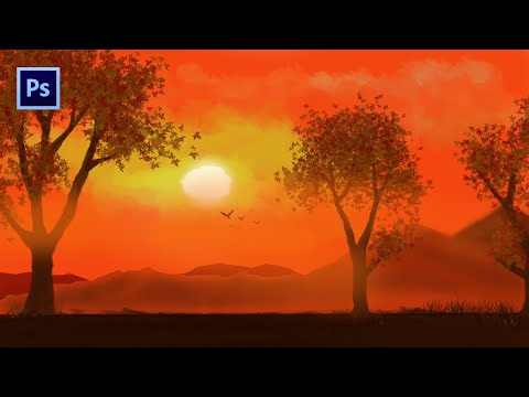 Photoshop digital painting tutorial 02 || How to EASILY Draw 2D Landscapes in Photoshop || Beginner