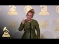 Capture de la vidéo Adele In Tv Radio Room After Winning Album, Record And Song Of The Year | 59Th Grammys