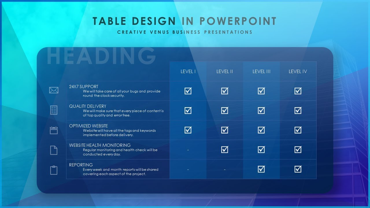 how to design a beautiful table slide in microsoft office