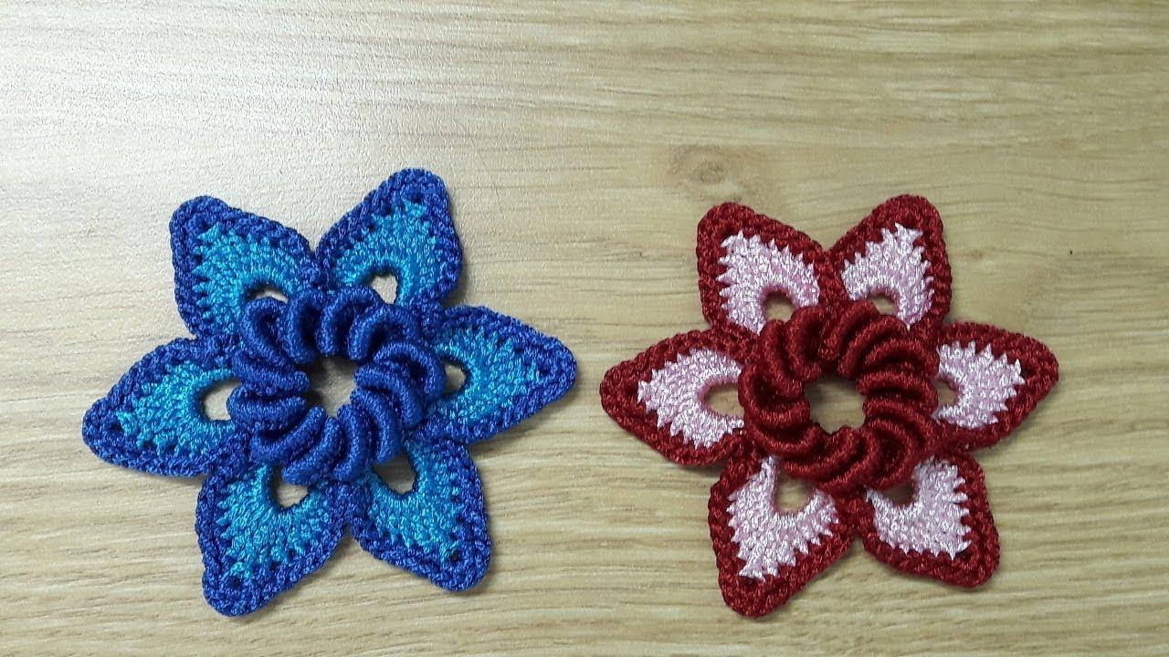 Hướng dẫn móc hoa len trang trí mũ, túi xách | Crochet flower | Bluesky Handmade