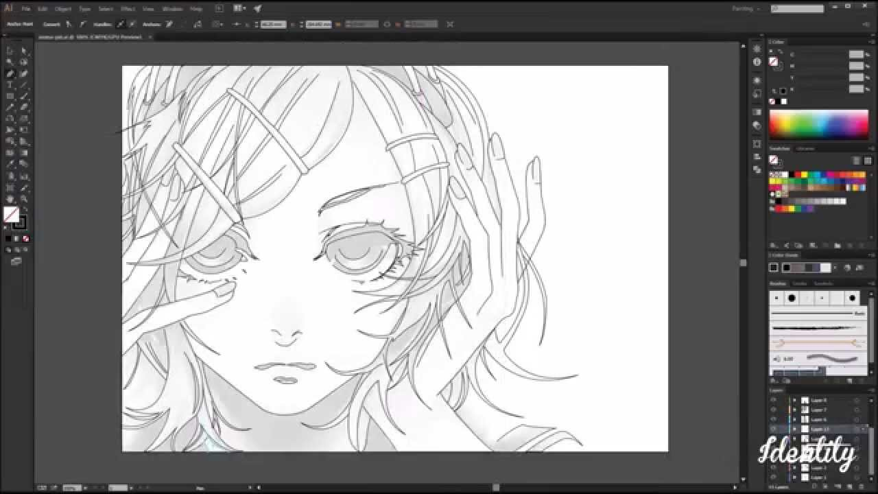 Anime Girl Vector Art Illustrator Pt1 Speed Art