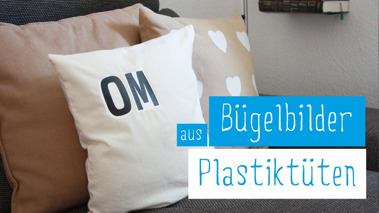 upcycling diy kissen selbst bedrucken plastikt ten aufb geln transfertechnik plastic bag iron. Black Bedroom Furniture Sets. Home Design Ideas