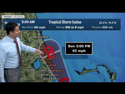5 a.m. Sunday update - Tropical Storm Isaias weakens
