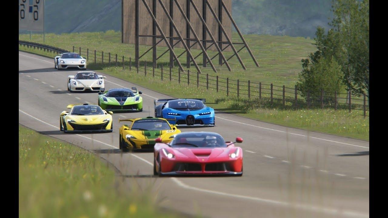 Battle Bugatti Vision GT vs Super Cars at Hihglands - YouTube