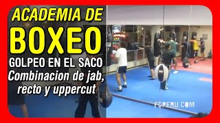 Clases de Boxeo: Trabajo en el saco - Combinacion de jab, recto y uppercut