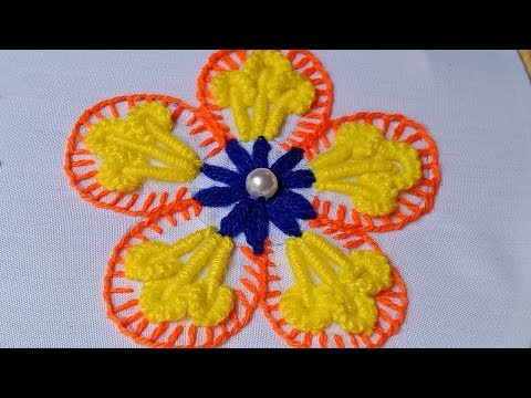 Hand Embroidery #228:Fancy flower embroidery design. Beautiful embroidery flowers.