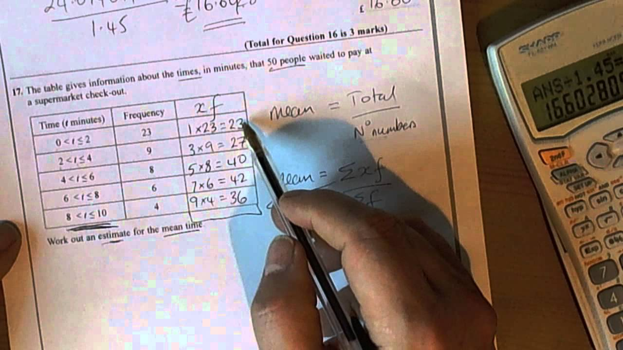 Estimated Mean Average Calculation For Grouped Frequency Table  Unit 1  Gcse Mathematics  Youtube