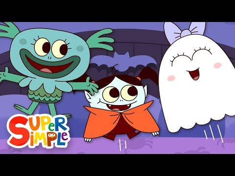 Five Little Monsters Jumping On The Bed | Kids Halloween Song | Super Simple Songs