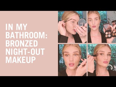 Bronzer and red lip evening makeup with Rosie Huntington-Whiteley