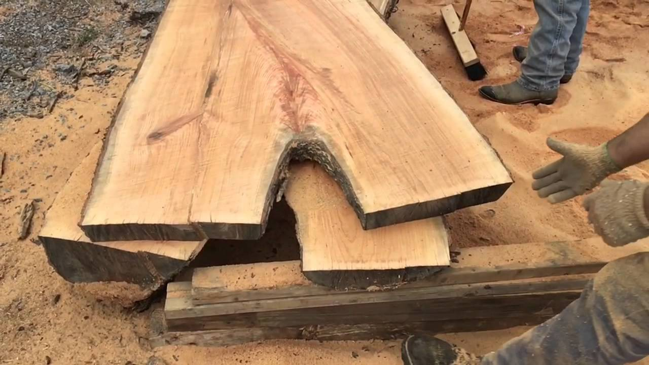 Live Edge Cherry Wood Slabs Being Cut With Alaskan Sawmill