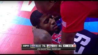 paul george horrible leg injury in team usa basketball showcase