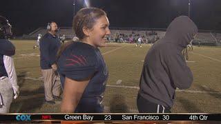 Grassfield's girl power; Kicker makes game-saving tackle
