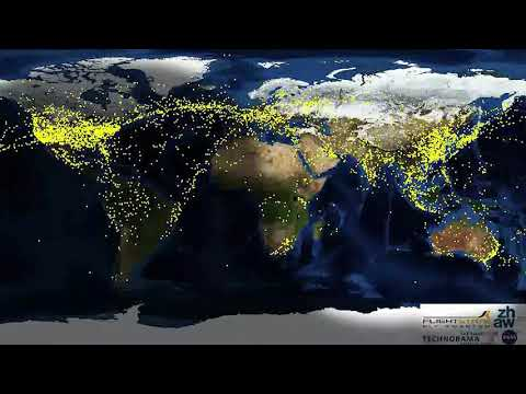 Timelapse of global air traffic