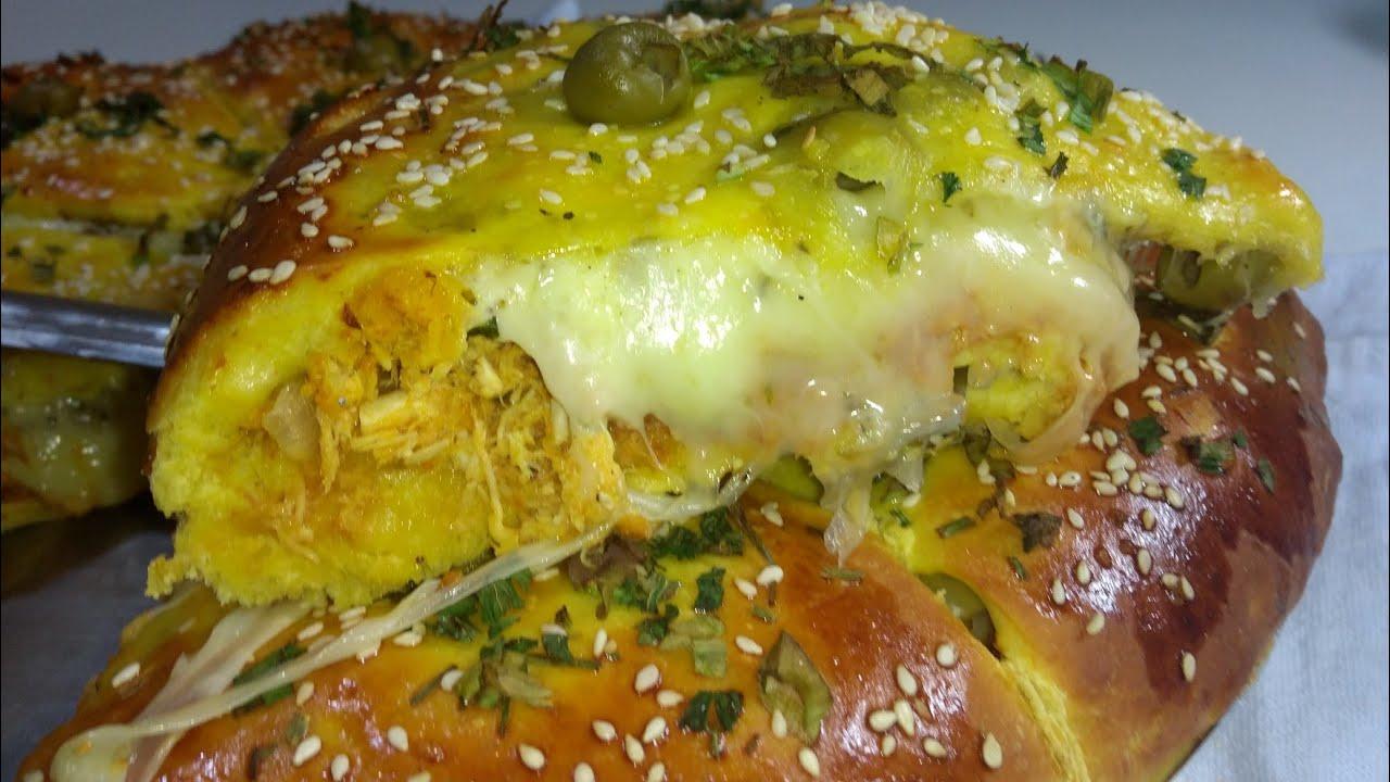 Como fazer salgado pizza com massa de cenoura recheio de frango e queijo