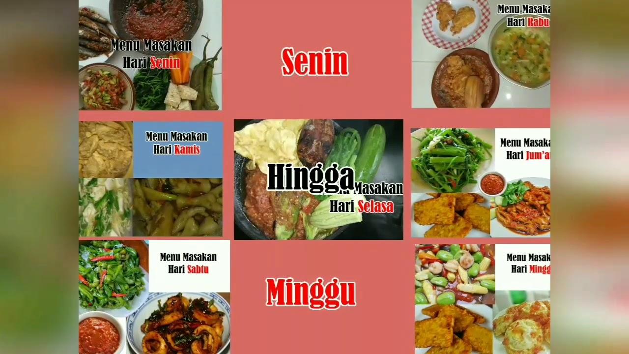Menu Masakan Sederhana Untuk 1 Minggu Youtube