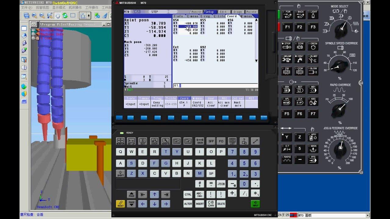 mitsubishi m70/m700 simulator - youtube