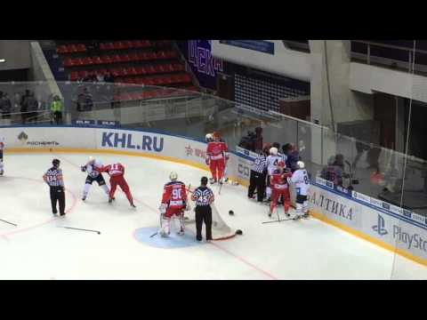 CSKA Moscow - Medvescak KHL hockey fight