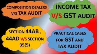 GST AUDIT V/S INCOME TAX AUDIT INCOME TAX AUDIT FOR GST COMPOSITION DEALERS GST AND TAX AUDIT LIMIT