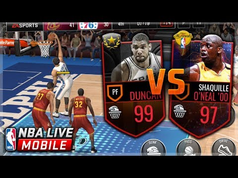 99 TIM DUNCAN VS 97 SHAQ! IN THE PAINT DUNK COMPETITION! NBA Live Mobile Challenge