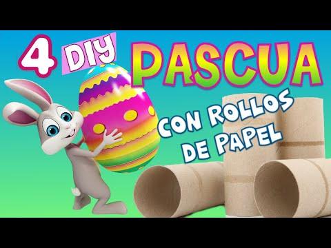 Ideas para pascua con rollos de papel higiénico ♥ Manualidades reciclaje fáciles primavera niños