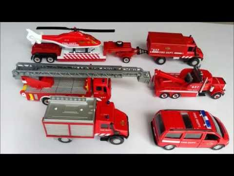 Fire rescue toy vehicles for kids. Learn names and sounds of fire truck, helicopter, brush rig, etc