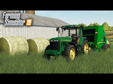 FS19- Making BIG ROUNDBALES With the NEW JOHN DEERE BALER- WESTBY, WISCONSIN thumbnail