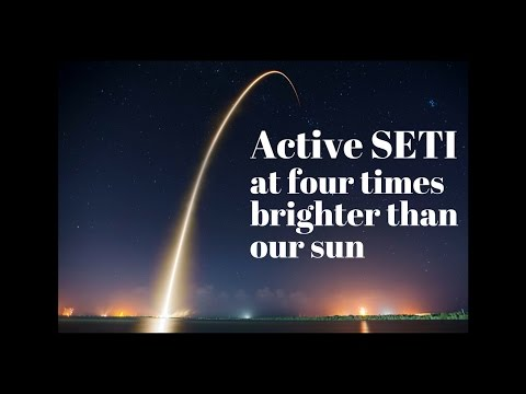 Active SETI at four times brighter than our sun