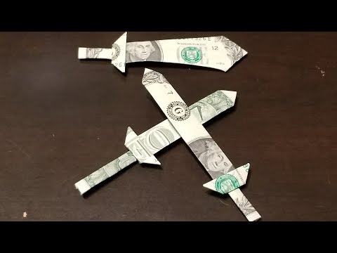 Dollar Origami Sword Quick Tutorial - How to Make A Dollar Origami Sword