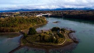 Church Island (St Tysilio's Church) & Menai Strait in Anglesey, Wales - Drone footage