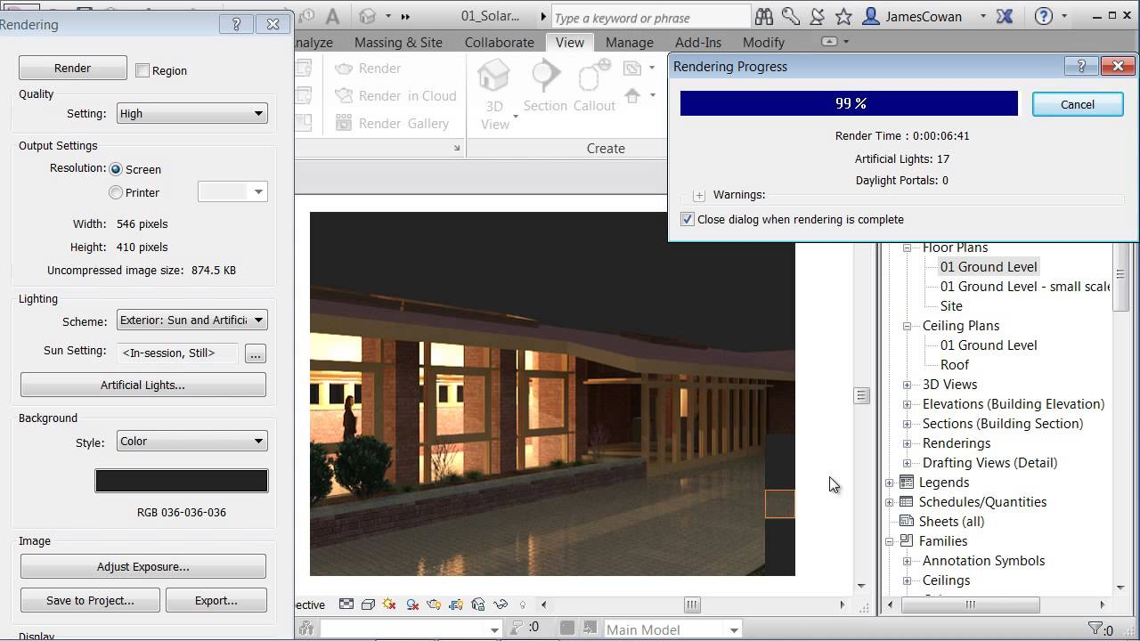 Exterior rendering using artificial lights at night youtube - Revit exterior rendering settings ...