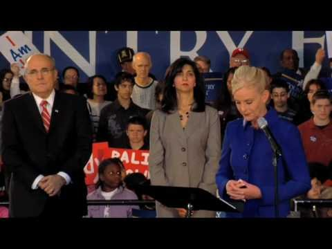 Cindy McCain and Rudy Giuliani speak on behalf of John McCain in Philadelphia