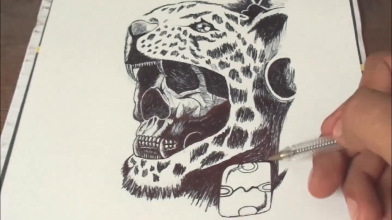 Dibujando guerrero jaguar con bolígrafo negro - Drawing jaguar warrior with  black pen -#65 - YouTube