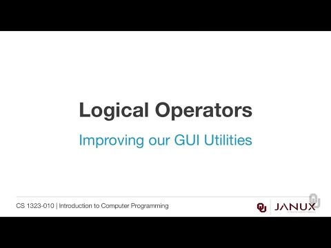 Introduction to Computer Programming - Logical Operators - GUI Utilities With Ranges
