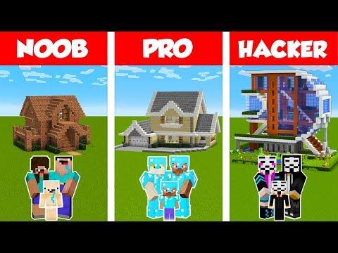Minecraft NOOB vs PRO vs HACKER: FAMILY HOUSE BUILD CHALLENGE in Minecraft / Animation