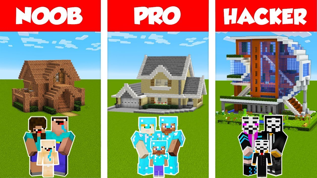 Minecraft NOOB vs PRO vs HACKER: FAMILY HOUSE BUILD CHALLENGE in Minecraft / Animation
