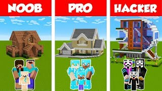 Minecraft Noob Vs Pro Vs Hacker Family House Build Challenge In Minecraft  Animation