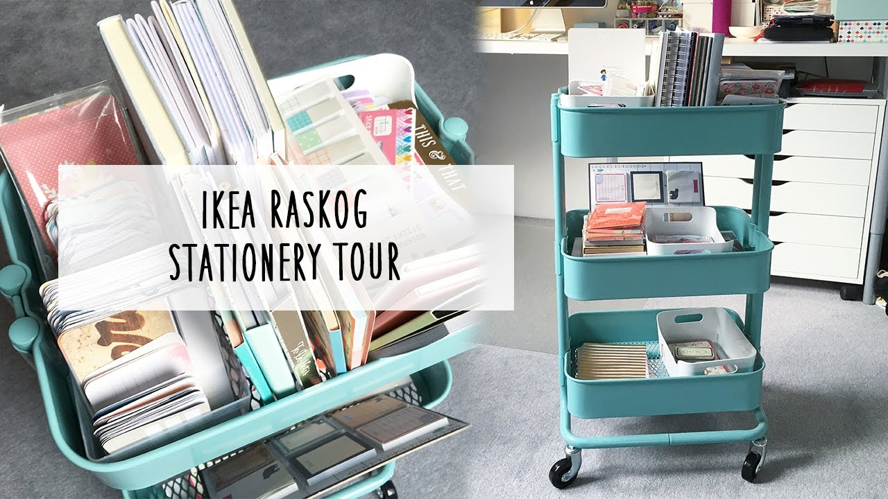 ikea raskog cart stationery tour youtube. Black Bedroom Furniture Sets. Home Design Ideas