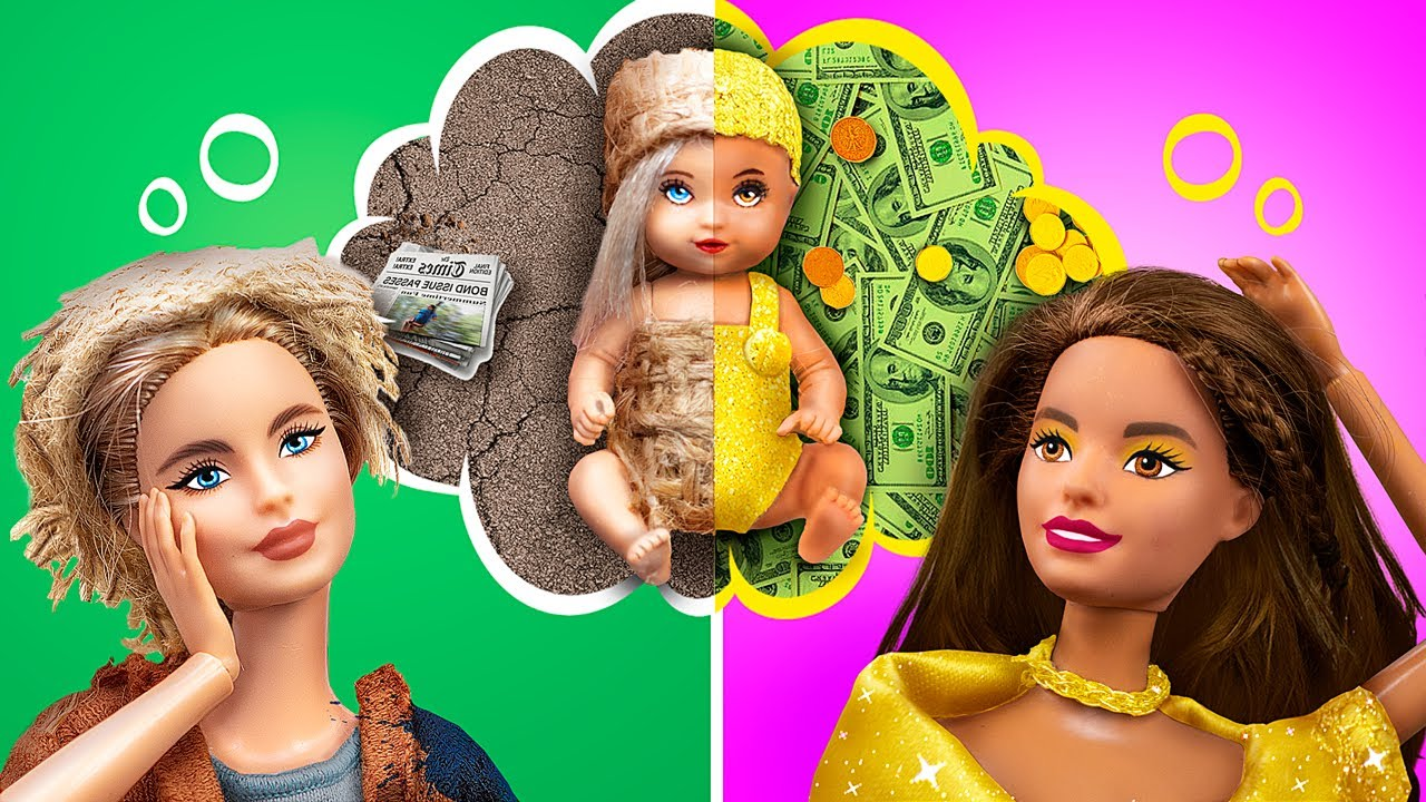 Rich Mom vs Broke Mom / 10 Barbie DIYs