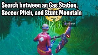 """Search between an Gas Station, Soccer Pitch, and Stunt Mountain"" LOCATION! Fortnite: Battle Royale"